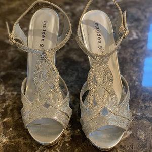 Madden Girl sparkly silver platform sandals